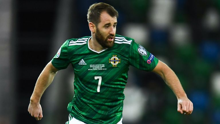 12 November 2020; Niall McGinn of Northern Ireland during the UEFA EURO2020 Qualifying Play-Off Final match between Northern Ireland and Slovakia at National Football Stadium at Windsor Park in Belfast. Photo by David Fitzgerald/Sportsfile