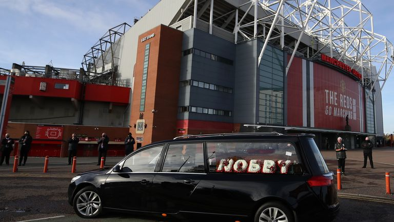 Nobby Stiles' hearse was driven past Old Trafford
