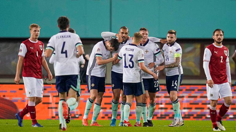 Northern Ireland celebrate Josh Magennis' goal against Austria