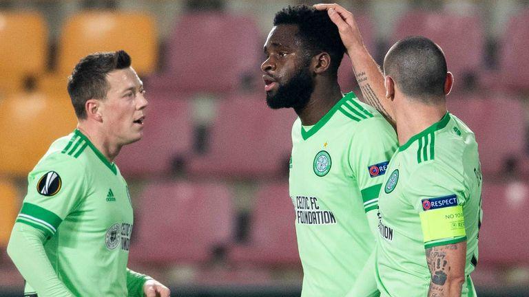 Odsonne Edouard celebrates putting Celtic ahead in Prague