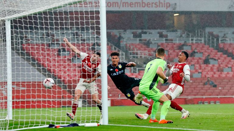 Watkins heads in the first of his two goals over a dreadful Arsenal