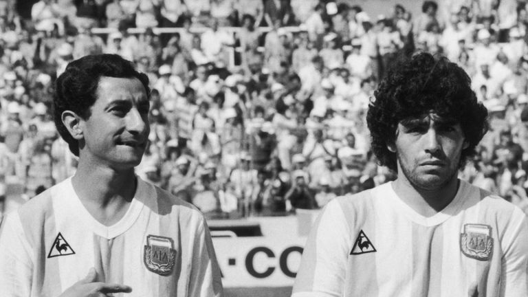 Argentinian footballers Osvaldo Ardiles and Diego Maradona shortly before their World Cup match against Brazil, 1st July 1982