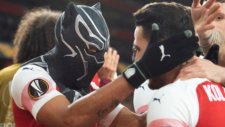 Arsenal's Pierre-Emerick Aubameyang celebrated his second goal against Rennes in the Europa League in March by wearing a mask of the Marvel Comics character the Black Panther