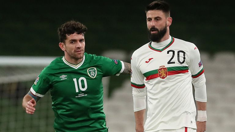 Republic of Ireland's Robbie Brady and Bulgaria's Dimitar Iliev (right) battle for the ball