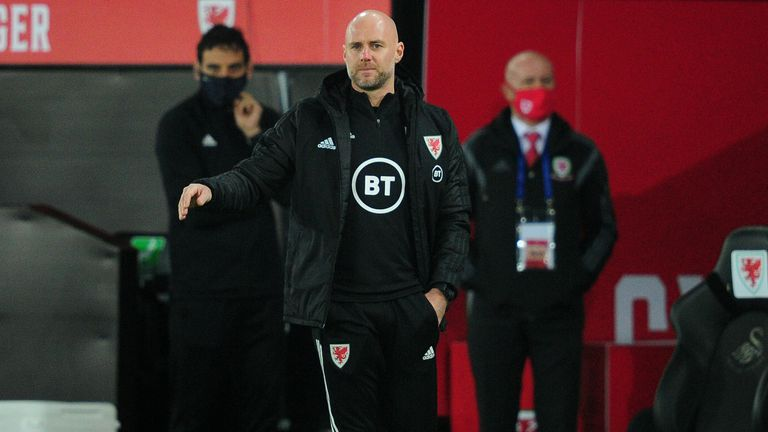 SWANSEA, WALES - NOVEMBER 12: Rob Page Interim Head Coach of Wales shouts instructions to his team from the dug-out during the international friendly match between Wales and USA at the Liberty Stadium on November 12, 2020 in Swansea, Wales. (Photo by Athena Pictures/Getty Images)