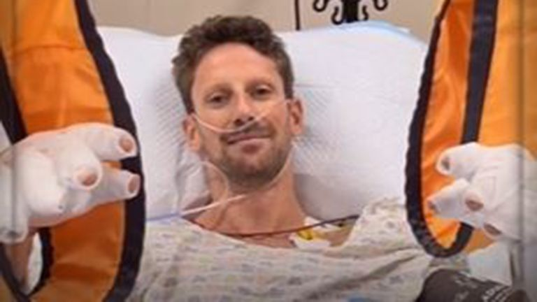 Romain Grosjean sends a message to fans from his hospital bed