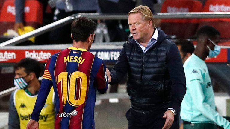 Ronald Koeman congratulates Messi after his impact off the bench