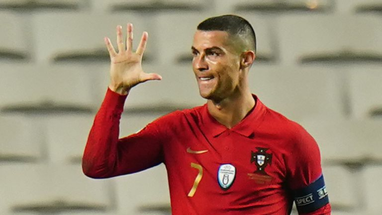 Cristiano Ronaldo of Portugal and Juventus celebrates after scoring a goal during the International Friendly match between Portugal and Andorra at Estadio da Luz on November 11, 2020 in Lisbon, Portugal.