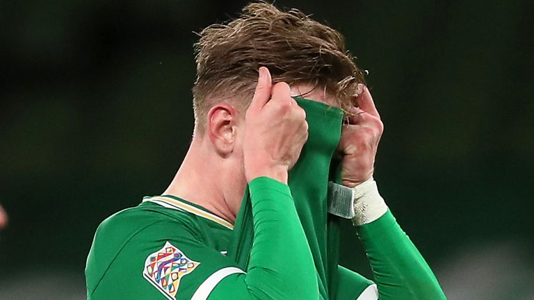 Ronan Curtis reacts after missing a chance for the Republic of Ireland
