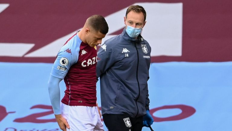 Ross Barkley is injured during Aston Villa's match against Brighton