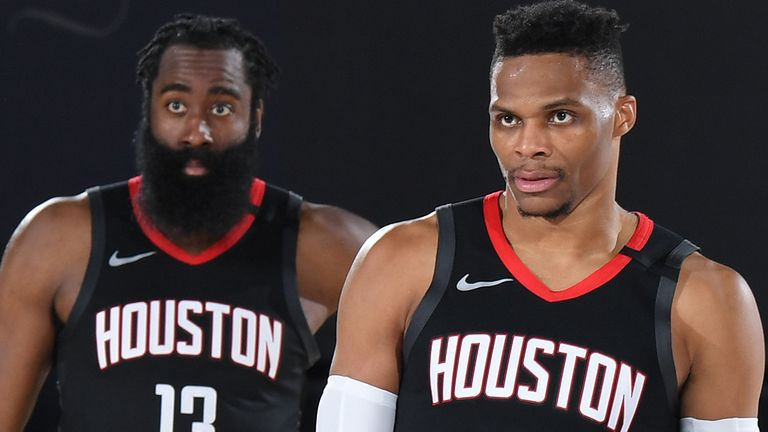 James Harden (left) and Russell Westbrook