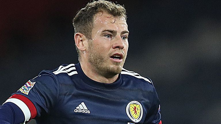 Ryan Fraser of Scotland is seen in action during the UEFA Nations League group stage match between Scotland and Czech Republic at Hampden Park on October 14, 2020 in Glasgow, Scotland. Football Stadiums around Europe remain empty due to the Coronavirus Pandemic as Government social distancing laws prohibit fans inside venues resulting in fixtures being played behind closed doors. (Photo by Ian MacNicol/Getty Images)