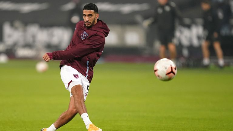 Said Benrahma warms up for West Ham