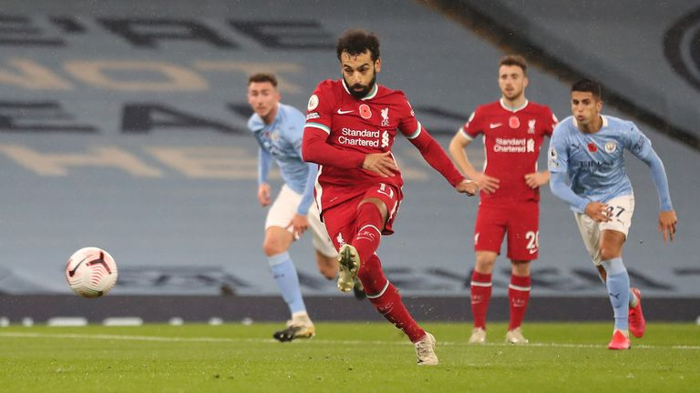 Mohamed Salah scores a penalty against Man City