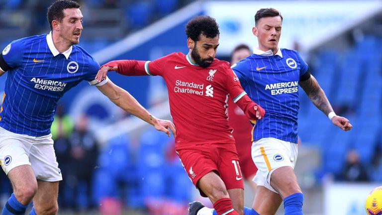 Mohamed Salah's first-half effort was ruled out for offside by VAR