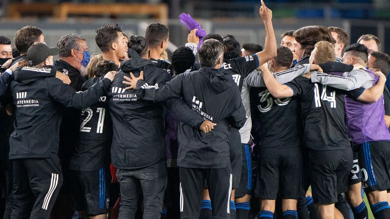 San Jose Earthquakes celebrate after they secured a play-off place (Pic: USA Today/MLSsoccer)