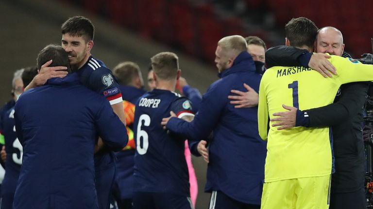 Scotland celebrate their play off win against Israel to set up a final against Serbia