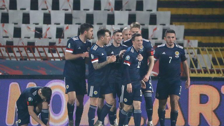 Scotland celebrate Ryan Christie's goal in Serbia