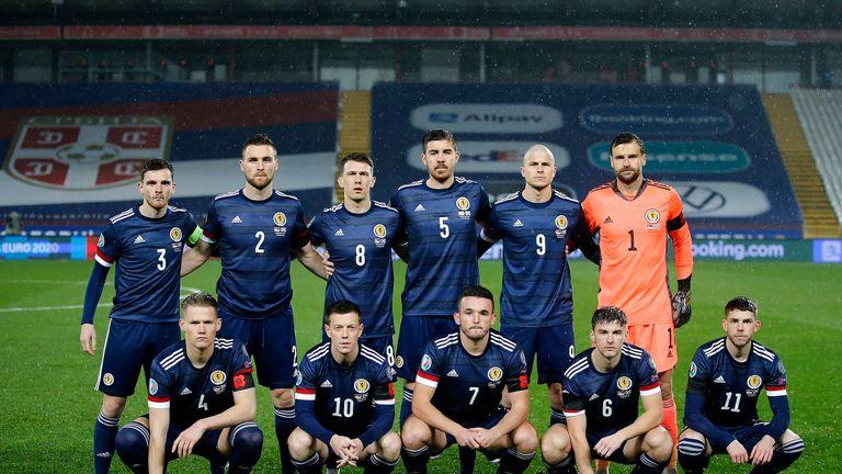 Scotland line up against Serbia