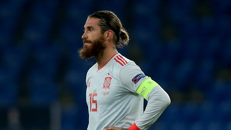 Sergio Ramos of Spain looks dejected during the UEFA Nations League group stage match between Switzerland and Spain at St. Jakob-Park on November 14, 2020 in Basel, Switzerland.