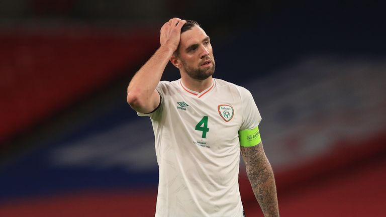 Shane Duffy cuts a dejected figure as Republic of Ireland were beaten
