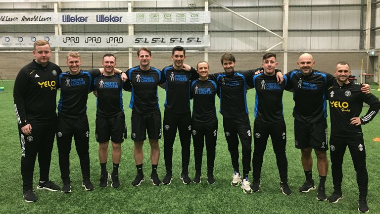 Sheffield United's coaching staff show their support for Prostate Cancer UK