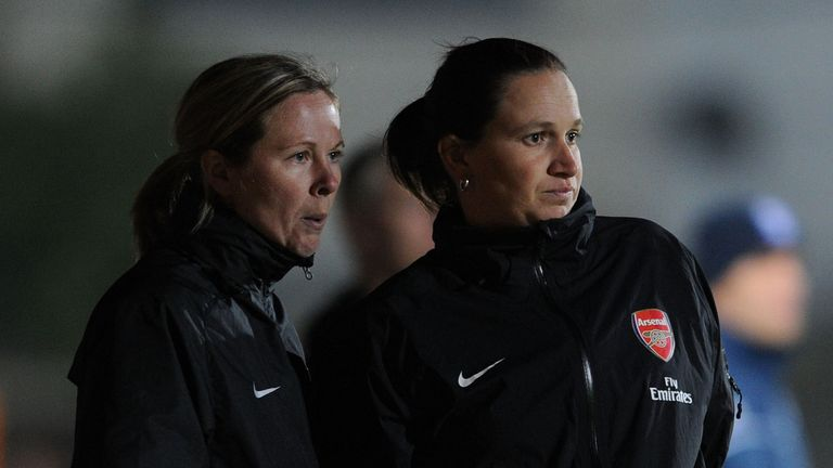 Skinner, left, spent three years as Arsenal assistant coach between 2010 and 2013