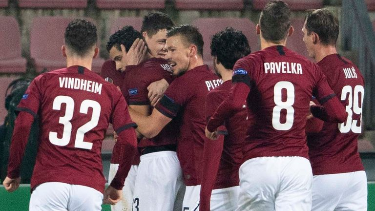 Sparta Prague players celebrate David Hancko's equaliser against Celtic