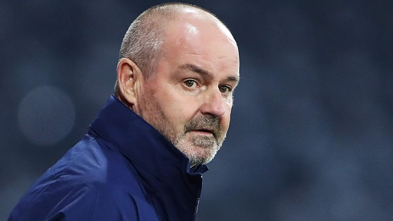 Scotland manager Steve Clarke looks on during the UEFA EURO 2020 Play-Off semi-finals match between Scotland and Israel at Hampden Park on October 08, 2020 in Glasgow, Scotland. Football Stadiums around Europe remain empty due to the Coronavirus Pandemic as Government social distancing laws prohibit fans inside venues resulting in fixtures being played behind closed doors