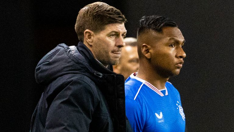 GLASGOW, SCOTLAND - OCTOBER 29: Rangers Manager Steven Gerrard with Alfredo Morelos  during a Europa League group stage match between Rangers and Lech Poznan at Ibrox Stadium, on October 29, 2020, in Glasgow, Scotland. (Photo by Alan Harvey / SNS Group)