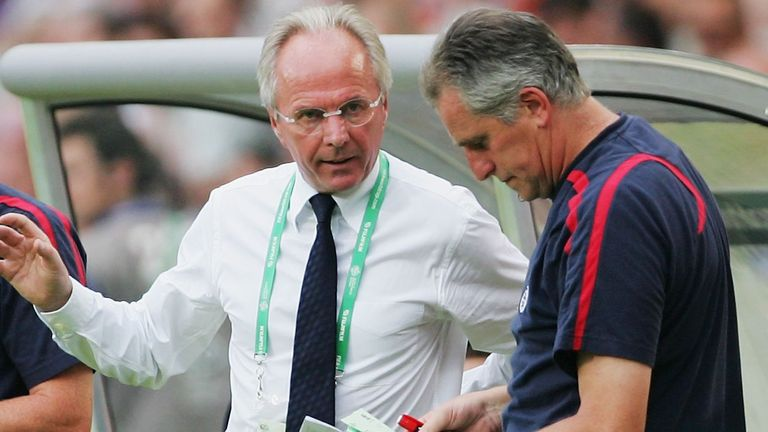 Manager of England Sven Goran Eriksson discusses tactics with goalkeeping coach Ray Clemence (R) as assistant Steve McClaren takes notes during the FIFA World Cup Germany 2006 Round of 16 match between England and Ecuador played at the Gottlieb-Daimler Stadium on June 25, 2006 in Stuttgart, Germany.