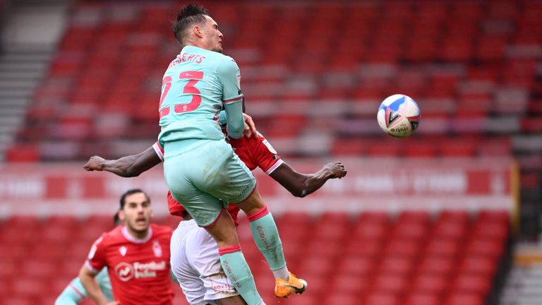 Connor Roberts of Swansea City scores their team's first goal during the Sky Bet Championship match between Nottingham Forest and Huddersfield Town at City Ground on November 29, 2020