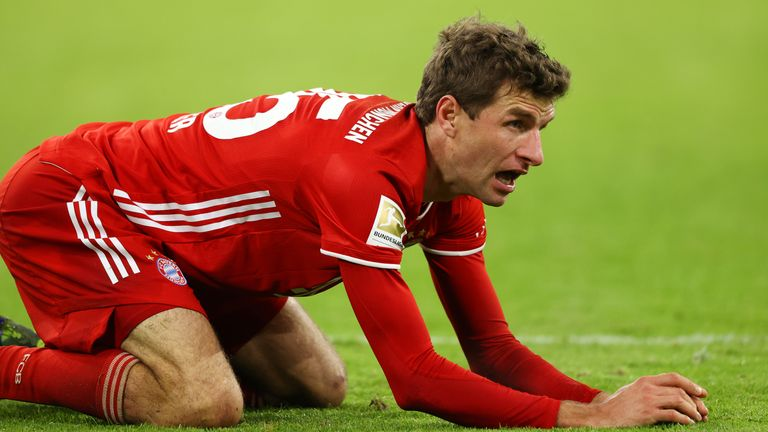 Thomas Muller shows the strain during the 1-1 draw at Werder Bremen
