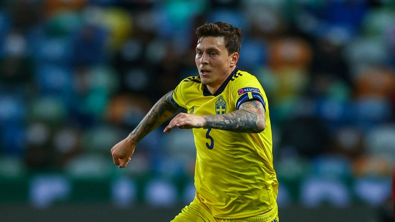 Victor Lindelof of Sweden and Manchester United FC during the UEFA Nations League group stage match between Portugal and Sweden at Estadio Jose Alvalade on October 14, 2020 in Lisbon, Portugal