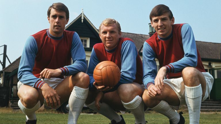 West Ham trio (left to right) Sir Geoff Hurst, Bobby Moore (1941-1993) and Martin Peters (1994-2019) pictured in 1966 - the year of their World Cup triumph with England