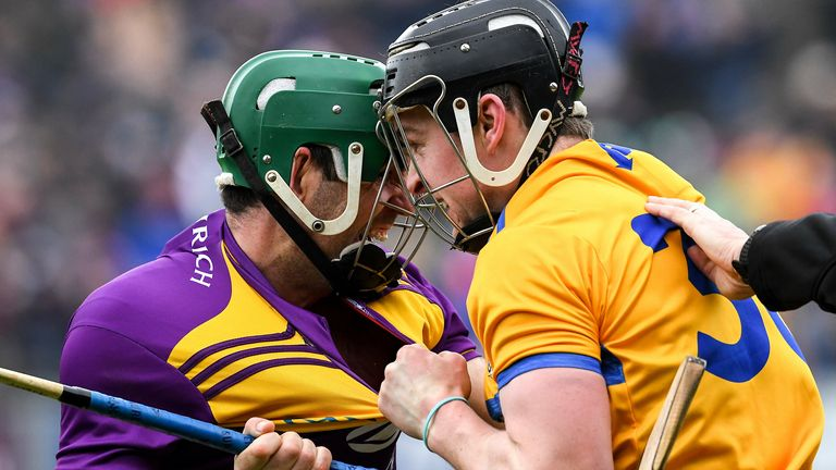 Shaun Murphy of Wexford and Tony Kelly of Clare jostle each other during the National League meeting earlier this year