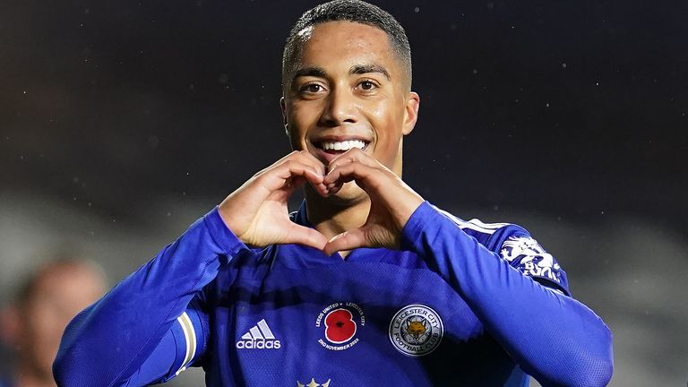 Youri Tielemans celebrates after putting Leicester City 2-0 up at Leeds United