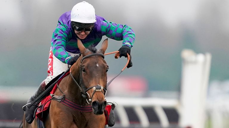 NEWBURY, ENGLAND - NOVEMBER 27: Richard Johnson riding Thyme Hill clear the last to win The Ladbrokes Long Distance Hurdle at Newbury Racecourse on November 27, 2020 in Newbury, England. Owners are allowed to attend if they have a runner at the meeting otherwise racing remains behind closed doors to the public due to the Coronavirus pandemic. (Photo by Alan Crowhurst/Getty Images)