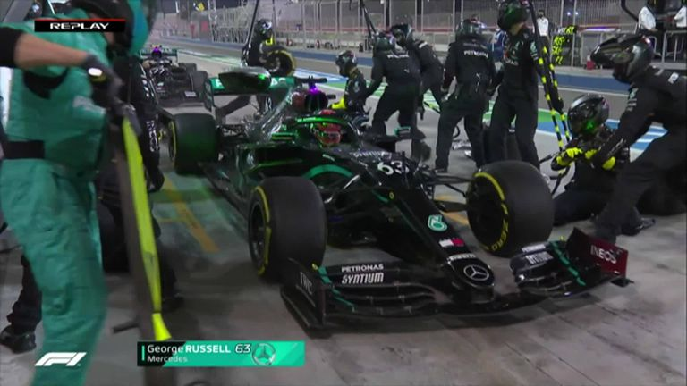 There was confusion in the Mercedes pit lane as they brought both drivers in, causing them to lose track position in Bahrain.