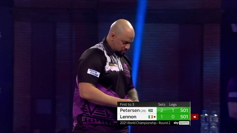 Devon Petersen hits this brilliant 121 on the bull in his match with Steve Lennon.