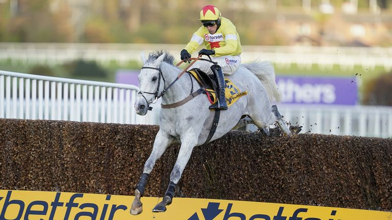 Harry Skelton riding Politologue clear the last to win The Betfair Tingle Creek Chase