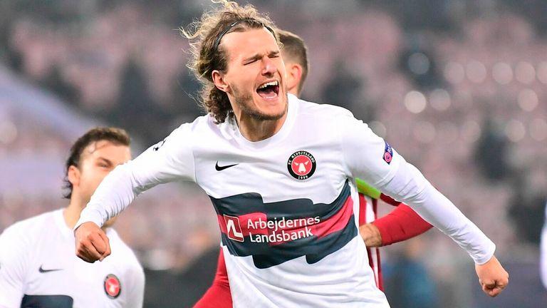 Alexander Scholz celebrates scoring a penalty for Midtjylland against Liverpool