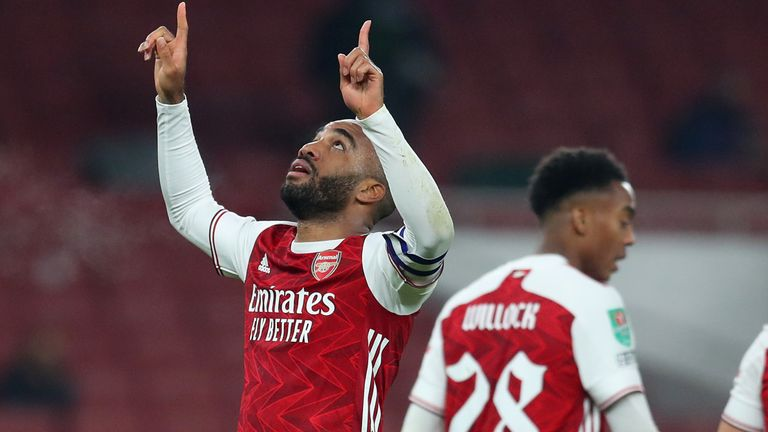 Alexandre Lacazette celebrates after equalising for Arsenal against Manchester City