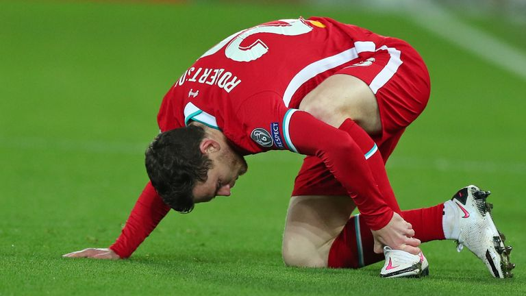 Andy Robertson suffered an injury scare against Ajax