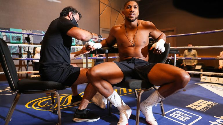 HANDOUT PICTURE COMPLIMENTS OF MATCHROOM BOXING.Anthony Joshua working out in the gym at the hotel.9 December 2020.Picture By Mark Robinson.