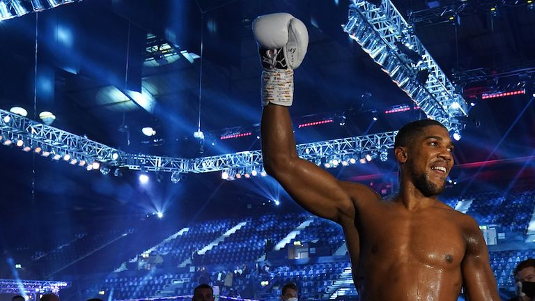 HANDOUT PICTURE COMPLIMENTS OF MATCHROOM BOXING.Anthony Joshua vs Kubrat Pulev, IBF, WBA, WBO & IBO World Title..12 December 2020.Picture By Dave Thompson.Anthony Joshua  celebrates.