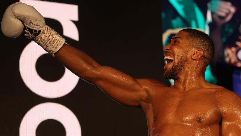 HANDOUT PICTURE COMPLIMENTS OF MATCHROOM BOXING.Anthony Joshua vs Kubrat Pulev, IBF, WBA, WBO & IBO World Title..12 December 2020.Picture By Mark Robinson.Anthony Joshua celebrates.