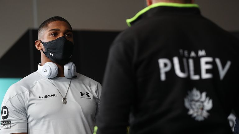 HANDOUT PICTURE COMPLIMENTS OF MATCHROOM BOXING.Anthony Joshua and Kubrat Pulev Press Conference ahead of their IBF, WBA, WBO & IBO World Heavyweight Title Fight on Saturday night..10 December 2020.Picture By Mark Robinson .