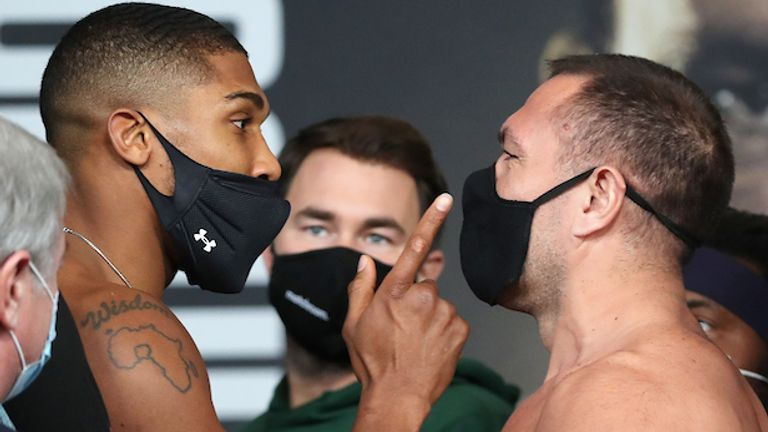 HANDOUT PICTURE COMPLIMENTS OF MATCHROOM BOXING.Anthony Joshua and Kubrat Pulev Weigh In ahead of their IBF, WBA, WBO & IBO World Heavyweight Title Fight tomorrow night..11 December 2020.Picture By Mark Robinson.