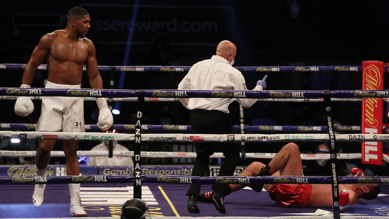 HANDOUT PICTURE COMPLIMENTS OF MATCHROOM BOXING.Anthony Joshua vs Kubrat Pulev, IBF, WBA, WBO & IBO World Title..12 December 2020.Picture By Mark Robinson.Winning knock down.